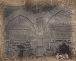 Close view of blind arches with prayer niches in the Tantipara Mosque, Gaur.